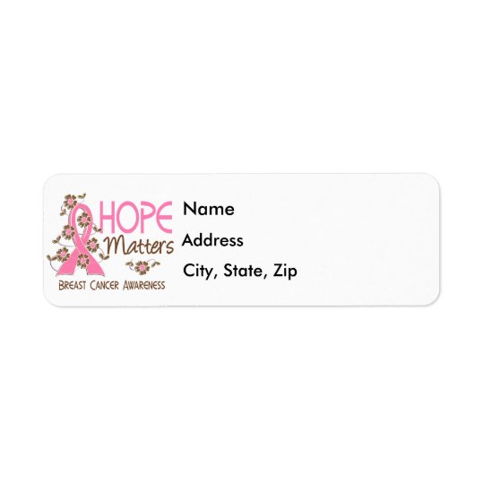 Hope Matters 3 Breast Cancer Return Address Label