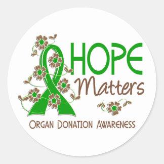 Hope Matters 3 Organ Donation Round Sticker