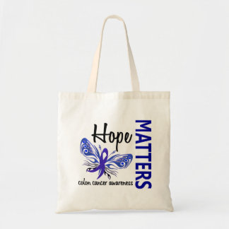 Hope Matters Butterfly Colon Cancer Canvas Bags