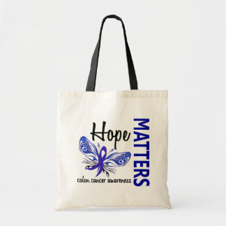 Hope Matters Butterfly Colon Cancer Budget Tote Bag