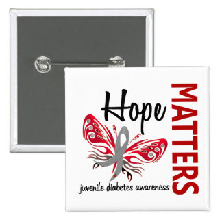 Hope Matters Butterfly Juvenile Diabetes 2 Inch Square Button