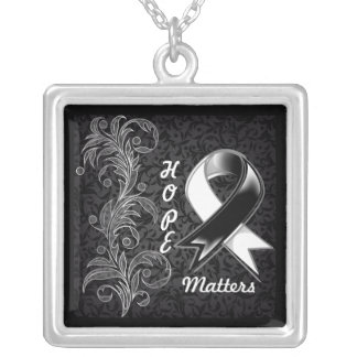Hope Matters Ribbon Carcinoid Cancer Square Pendant Necklace