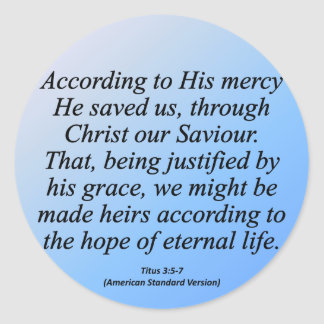 Hope of Eternal Life Christmas Titus 3-4 Classic Round Sticker