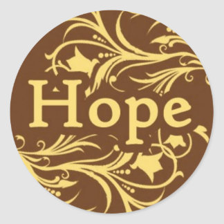 Hope on a Yellow and Brown Swirly Pattern Round Sticker