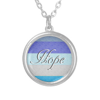 HOPE on Blue Silver Plated Necklace