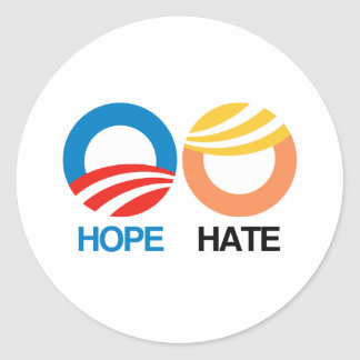 Hope or Hate - 2016 Election - Round Sticker