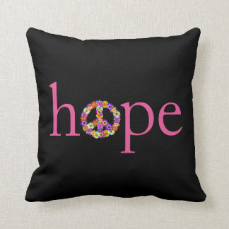 Hope & Peace Sign Floral on Black Throw Pillow