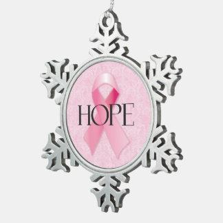 Hope Pink Ribbon Snowflake Ornament