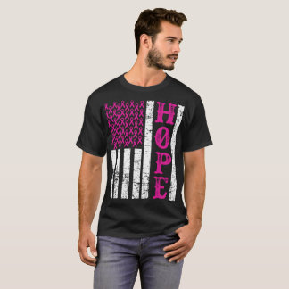 Hope Pink Ribbon US Flag Breast Cancer Awareness T T-Shirt