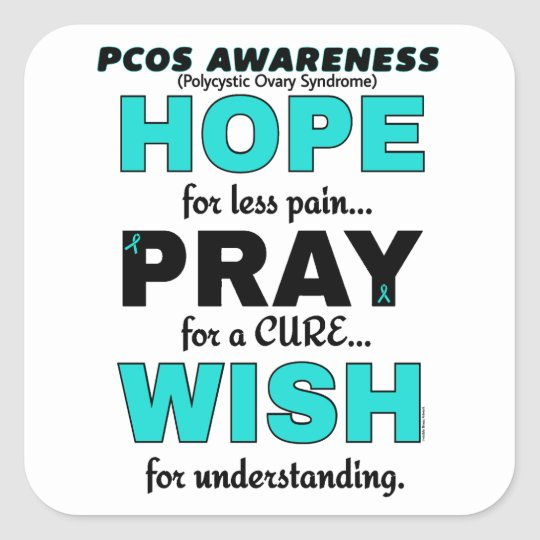 Hope Pray Wish...PCOS Square Sticker