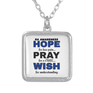 Hope Pray Wish...RA Silver Plated Necklace