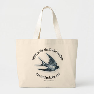 """Hope"" print with Emily Dickinson quote Large Tote Bag"