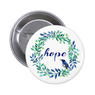 Hope Saying With Watercolor Wreath And Bird 2 Inch Round Button