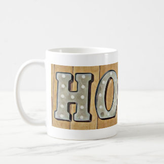 HOPE Sign with Wood Background Coffee Mug