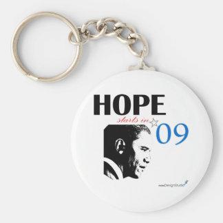 Hope Starts In 2009 Basic Round Button Keychain