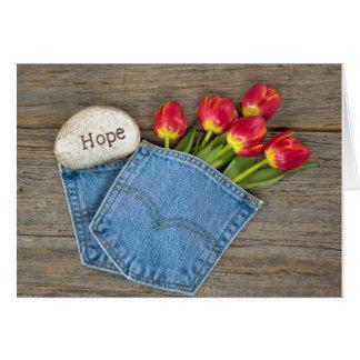 Hope tulips in blue jean pocket card
