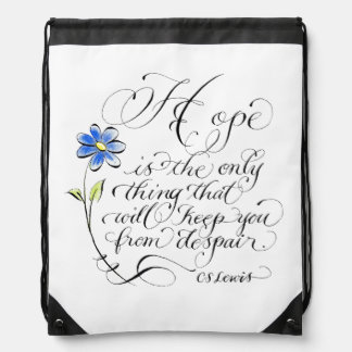 Hope typography Inspirational Quote Drawstring Bag