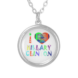 Hope Vote Blue  Lovely Reflection Amazing Hillary Silver Plated Necklace