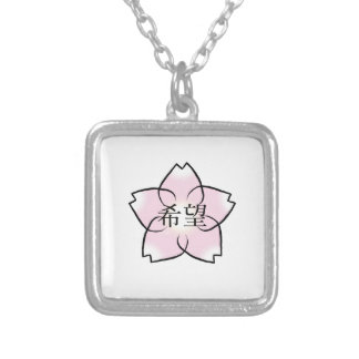 'Hope, Wish, Desire' Cherry Blossom Kanji Silver Plated Necklace