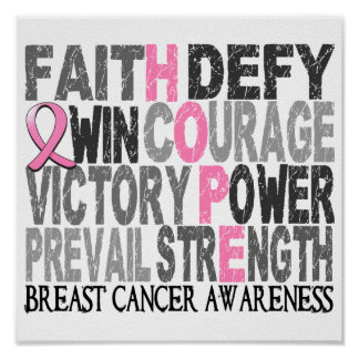 Hope Word Collage Breast Cancer Poster