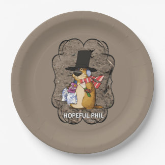 Hopeful Phil Groundhog Day Party Paper Plate 9 Inch Paper Plate