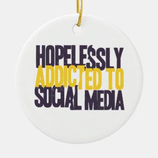 Hopelessly Addicted to Social Media Round Ceramic Ornament