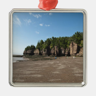 Hopewell Rocks and The Ocean Tidal Exploration Silver-Colored Square Ornament