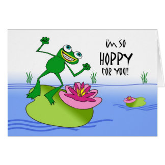 Hoppy Birthday, Happy  and Funny Frog on Lily Pad Card