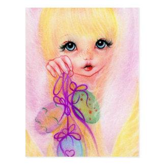 Hoppy easter bunny girl postcard