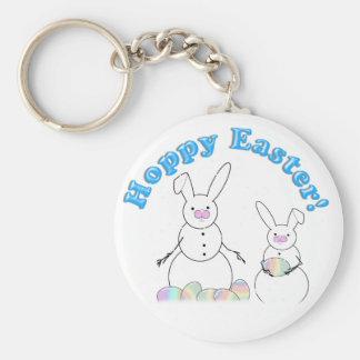 Hoppy Easter Snow Bunnies (Blue Text) Keychain