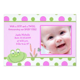 HOPPY FROG Baby Photo birth Announcement