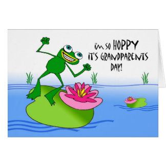 Hoppy Grandparents Day, Funny Frog at Pond Card