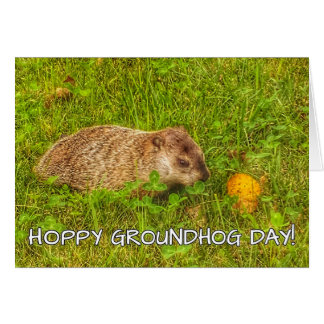 Hoppy Groundhog Day! greeting card