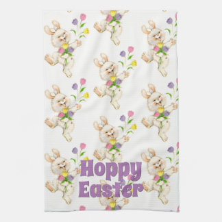 Hoppy Happy Easter Bunny Colorful Springtime Kitchen Towel