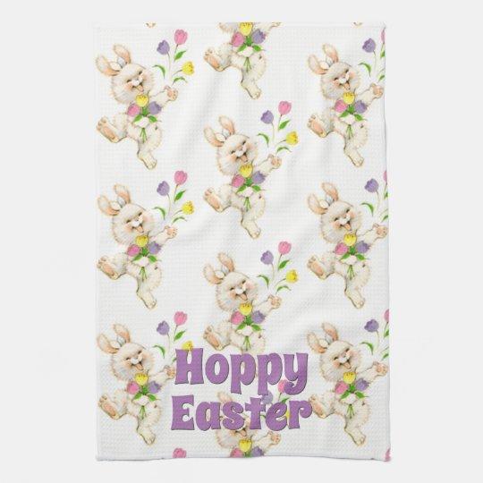 Hoppy Happy Easter Bunny Colourful Springtime Kitchen Towel