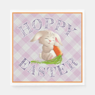 Hoppy Happy Easter Bunny Pink Gingham Pattern Paper Napkin