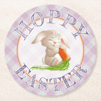 Hoppy Happy Easter Bunny Pink Gingham Pattern Round Paper Coaster