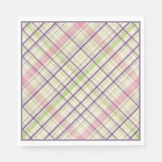 Hoppy Happy Easter Bunny Stripes And Plaid Pattern Paper Napkins