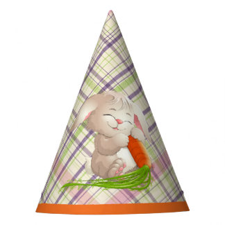 Hoppy Happy Easter Bunny Stripes And Plaid Pattern Party Hat