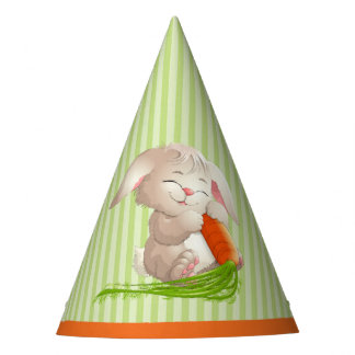 Hoppy Happy Easter Bunny Stripes Pattern Party Hat
