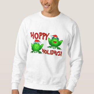 Hoppy Holidays Cartoon Green Frogs Shirt Red Text