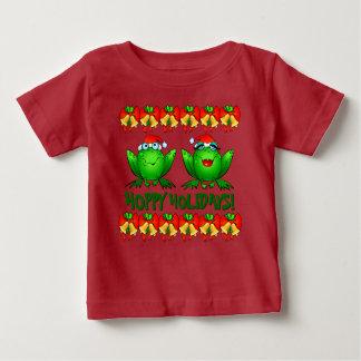 Hoppy Holidays Christmas Frogs Cute Funny Cartoon Baby T-Shirt