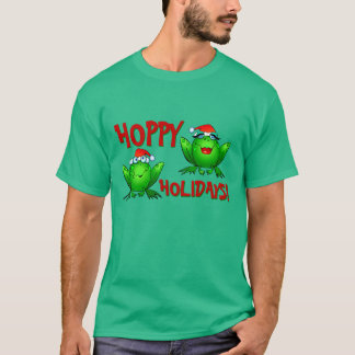 Hoppy Holidays Cute Cartoon Green Frogs Red Text T-Shirt