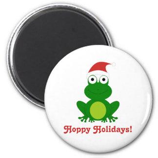 Hoppy Holidays Santa Frog 2 Inch Round Magnet
