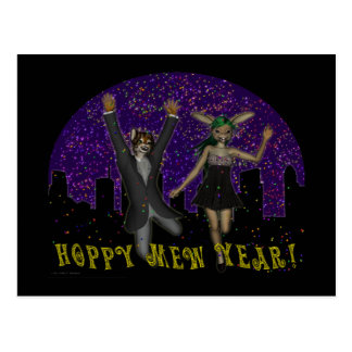 Hoppy Mew Year Postcard