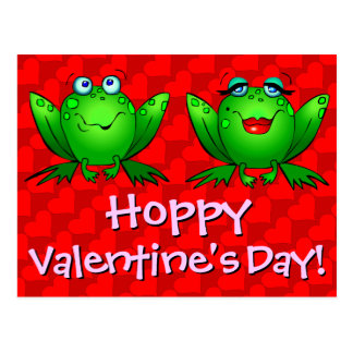 Hoppy Valentines Day Red Hearts Frogs Postcard