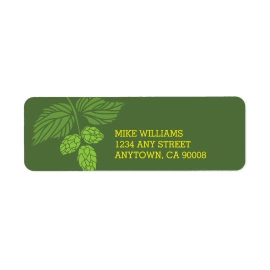 Hops Address Label, Beer Tasting Party Return Address Label