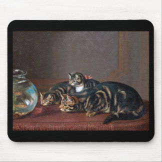 "Horatio Henry Couldery, ""Cats by a fishbowl"" Mouse Pad"