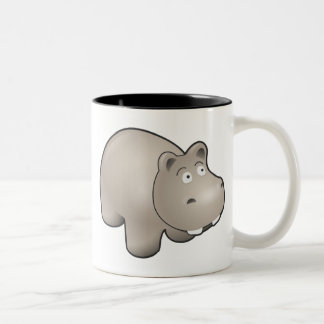 Horatio the Heroic Hippo Cute Cartoon Animal Two-Tone Coffee Mug