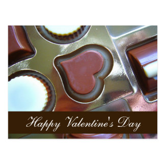 "Horiz. ""Happy Valentine's Day"" Chocolate Heart Postcard"